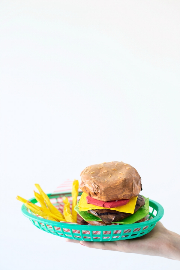 DIY Paper Mache Burger + Fries