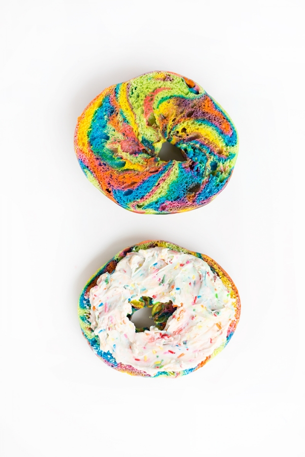 Funfetti Cream Cheese + Rainbow Bagels!