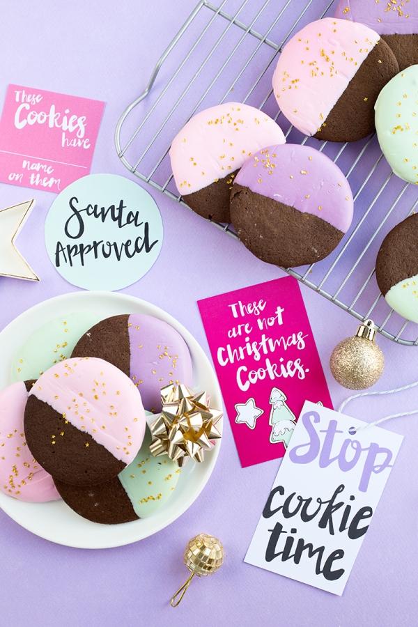 Color Dipped Gingerbread Cookies + Cookie Swap Printables | studiodiy.com