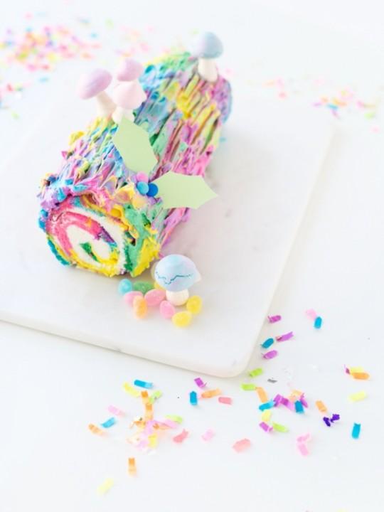 Tie Dye Yule Log Cake