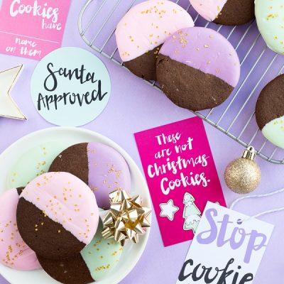 Color Dipped Gingerbread Cookies (+ Cookie Swap Printables!)