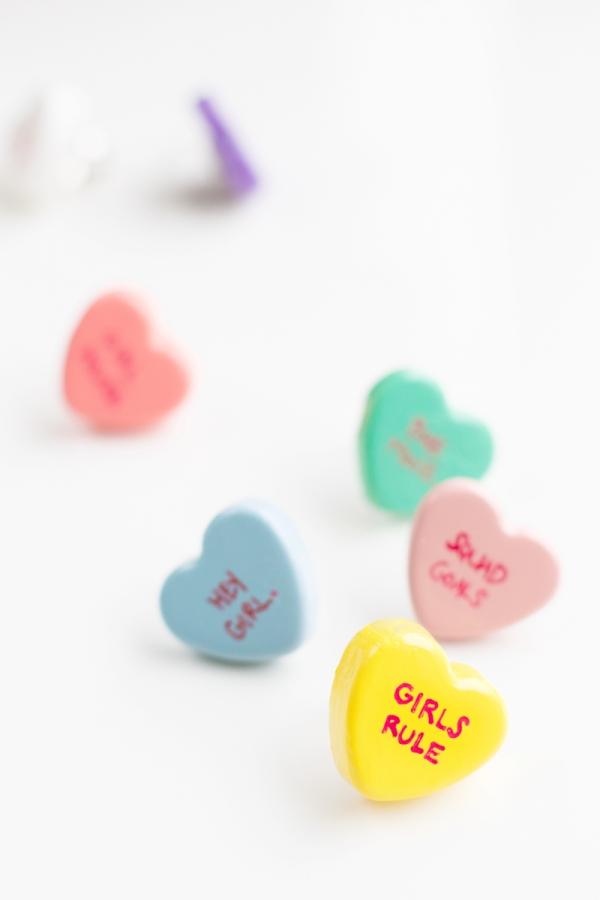 DIY Conversation Heart Rings | studiodiy.com