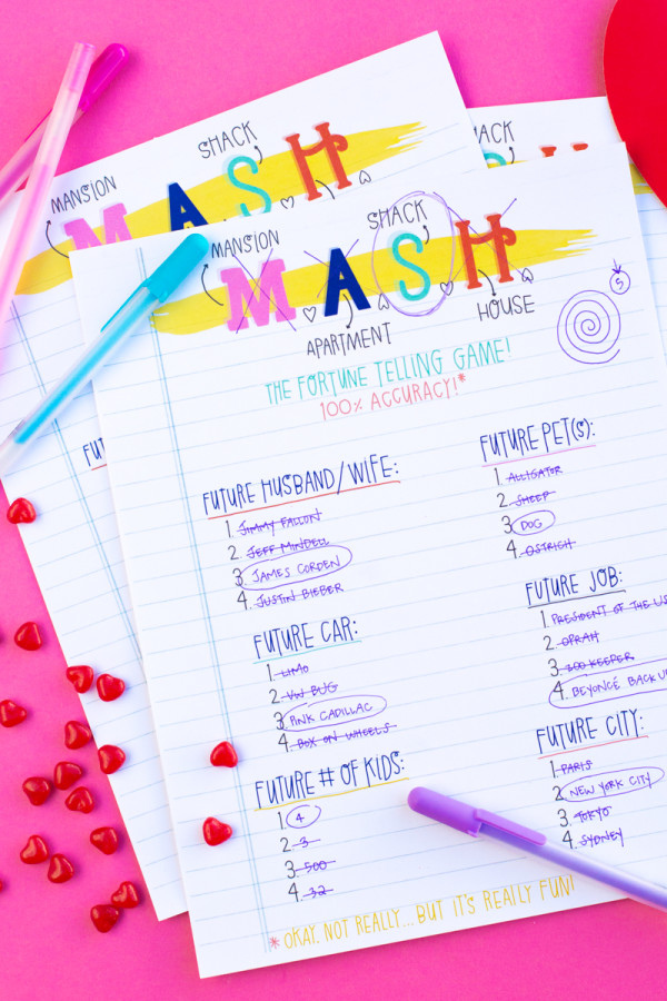 Printable Valentine's Day MASH Game
