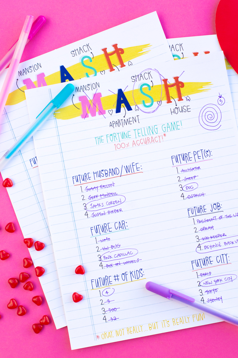 image about Mash Game Printable named Printable Valentines Working day MASH Video game - Studio Do it yourself