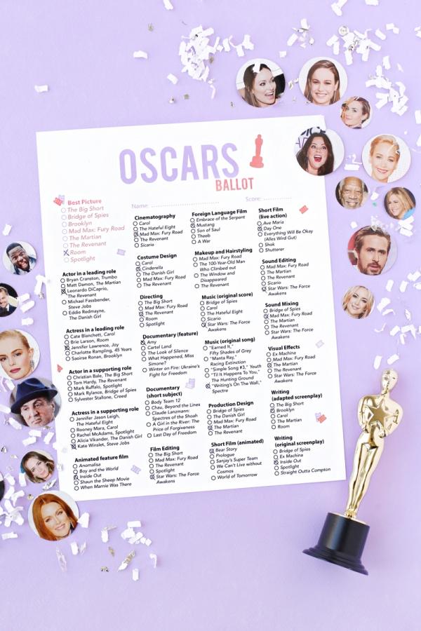 Free Printable 2016 Oscar Ballot | studiodiy.com