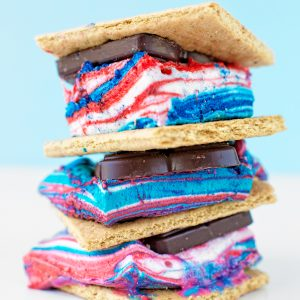 Tie Dye Fourth of July S'mores