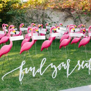 Lawn Flamingo Wedding Escort Cards