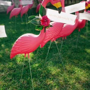 Lawn Flamingo Wedding Escort Cards