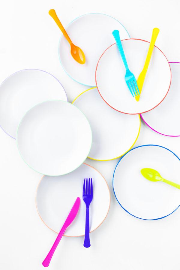 DIY Color Edged Plates | studiodiy.com
