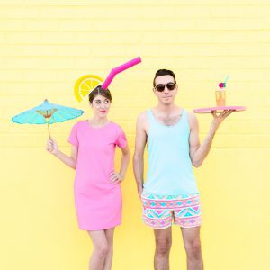 DIY Tropical Drink + Pool Boy Couples Costume