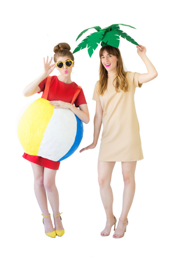 DIY Palm Tree + Beach Ball Costumes