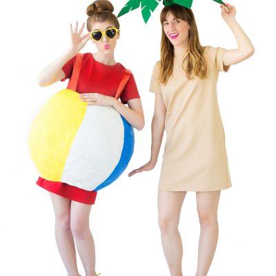 DIY Palm Tree + Beach Ball Costumes
