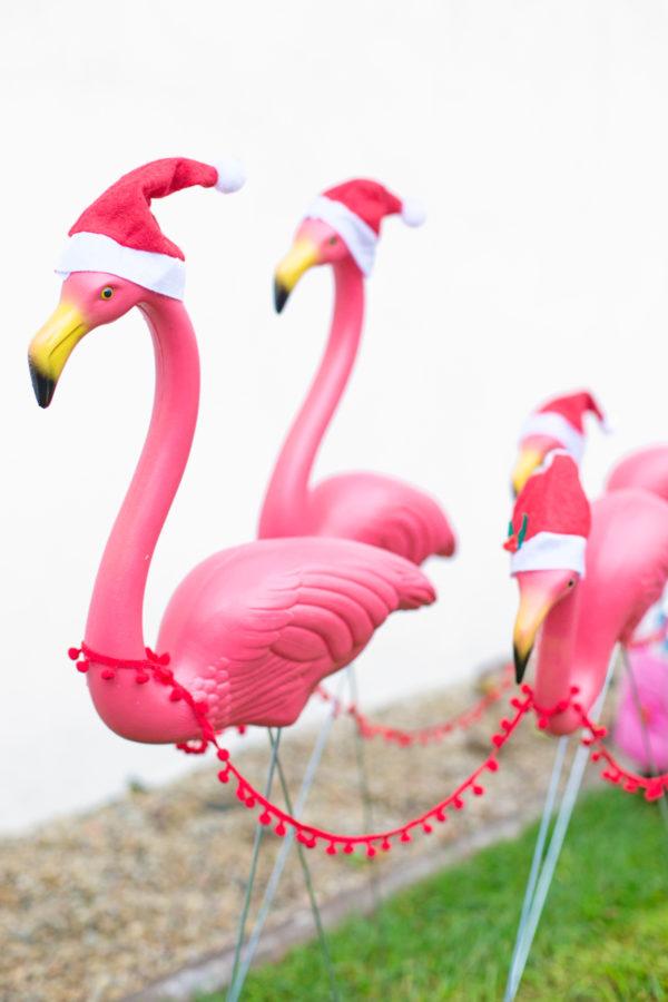 DIY Lawn Flamingo Sleigh