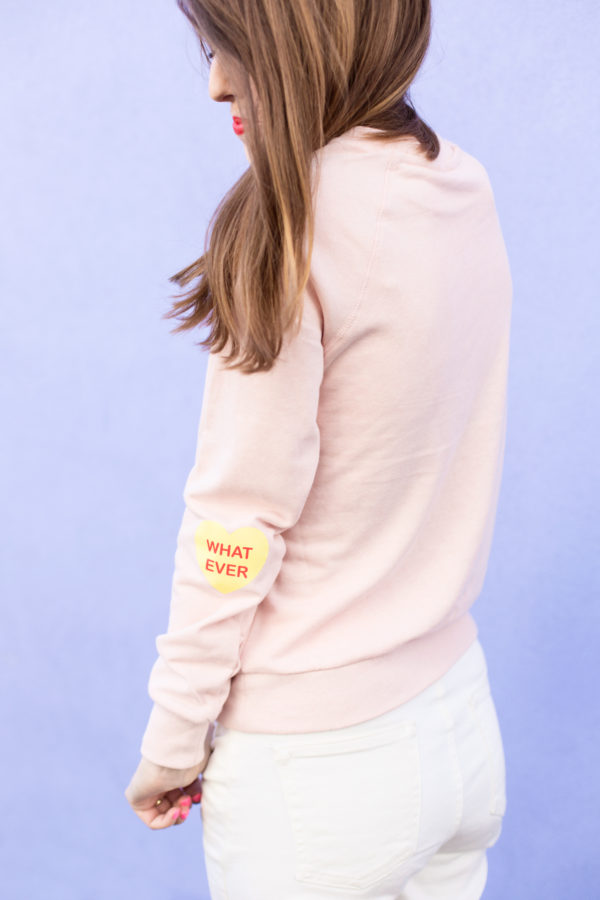 DIY Conversation Heart Elbow Patches