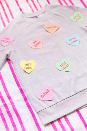 DIY Conversation Heart Patterned Sweatshirt