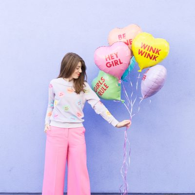 DIY Conversation Heart Patterned Sweatshirt (+ Elbow Patches!)