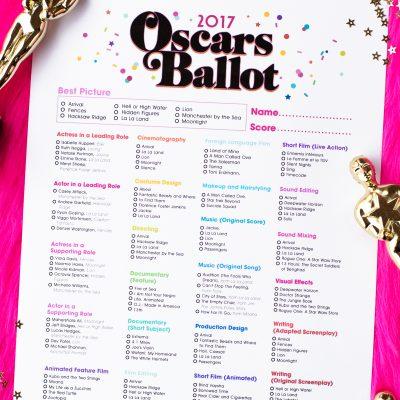 Free Printable 2017 Oscar Ballot