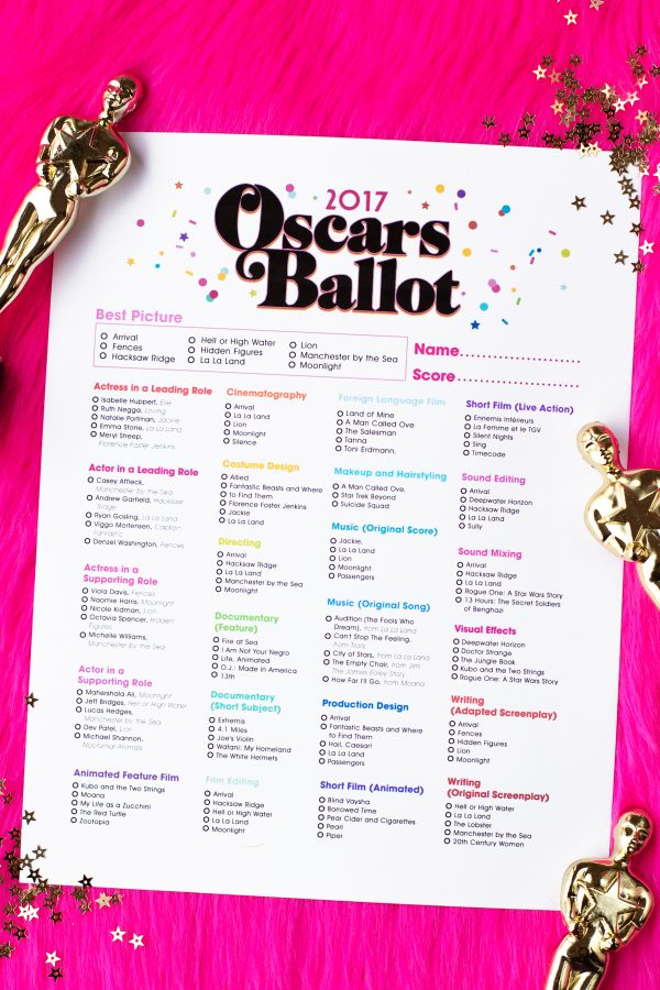 Free Printable 2017 Oscar Ballots