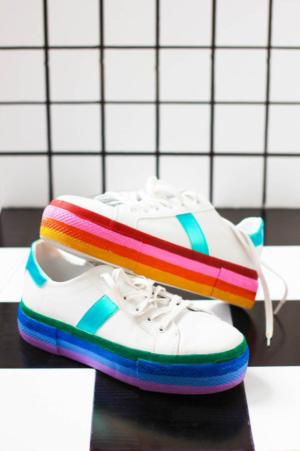 DIY Rainbow Platform Sneakers