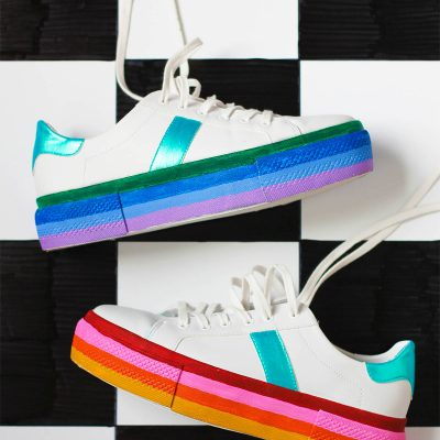 DIY Rainbow Platform Sneakers