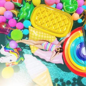 An Epic Rainbow Balloon Pool Party