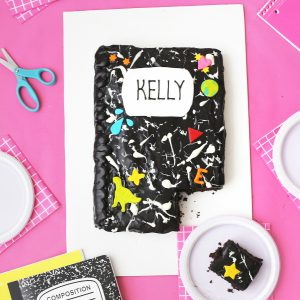 DIY Marble Notebook Cake