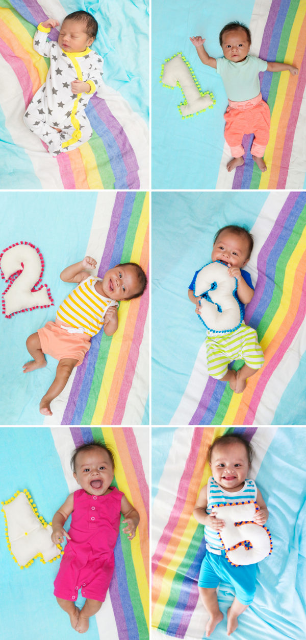 Monthly Baby Photos with Number Pillows