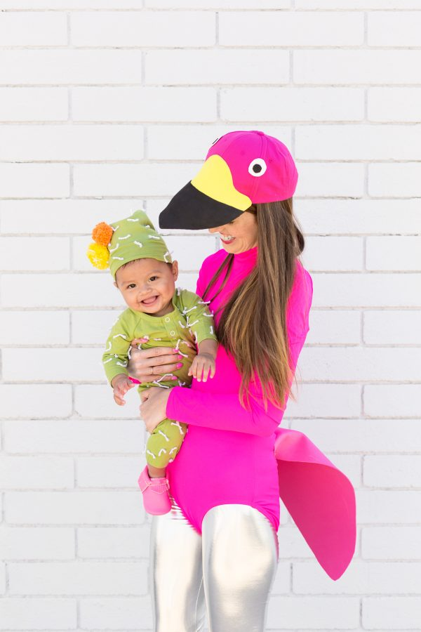 DIY Lawn Flamingo and Cactus Mommy and Me Costume