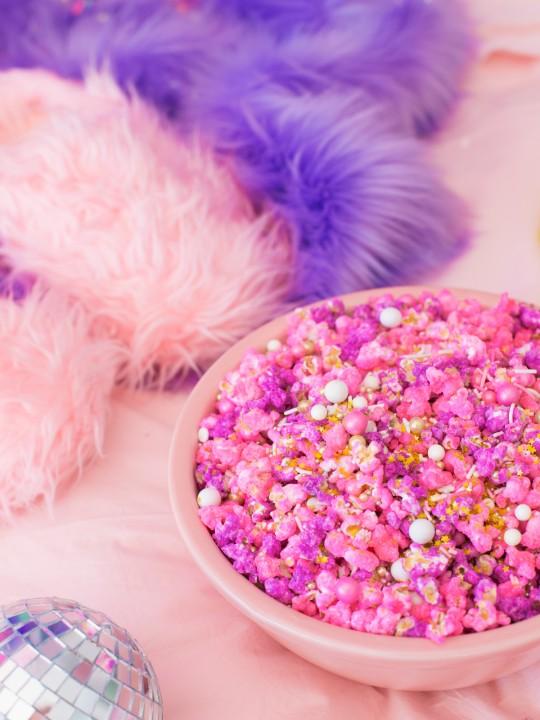 Pretty in Pink Pastel Candied Popcorn