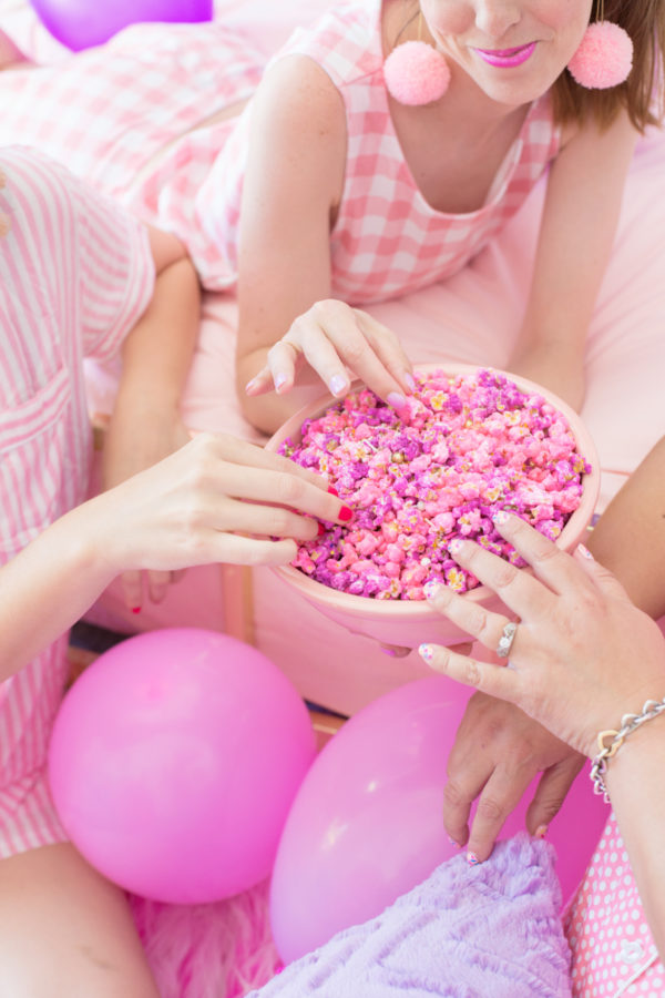 Pink Popcorn for a Slumber Party