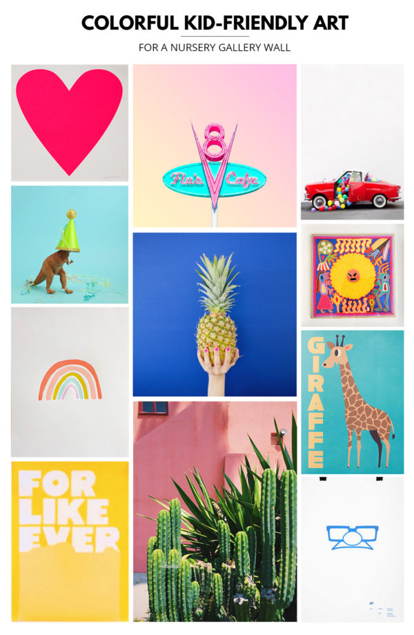 Colorful Kid-Friendly Art for a Nursery Gallery Wall