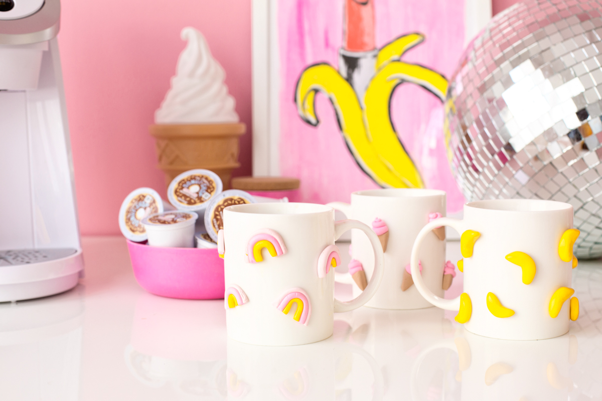 DIY Graphic 3D Polymer Clay Mugs - Studio DIY
