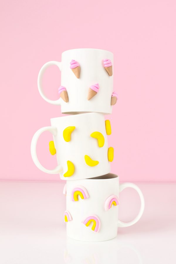 DIY Graphic 3D Polymer Clay Mugs