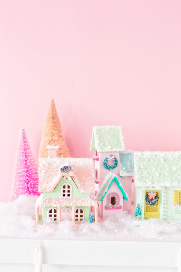 DIY Colorful Christmas Village