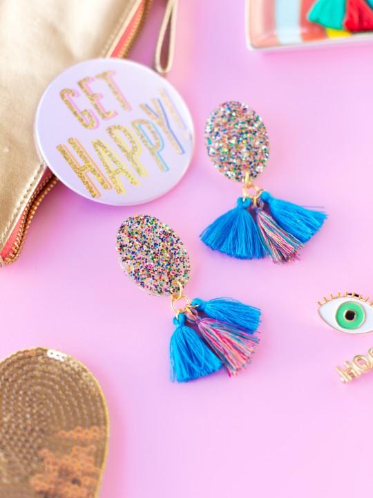 DIY Glitter Tassel Earrings