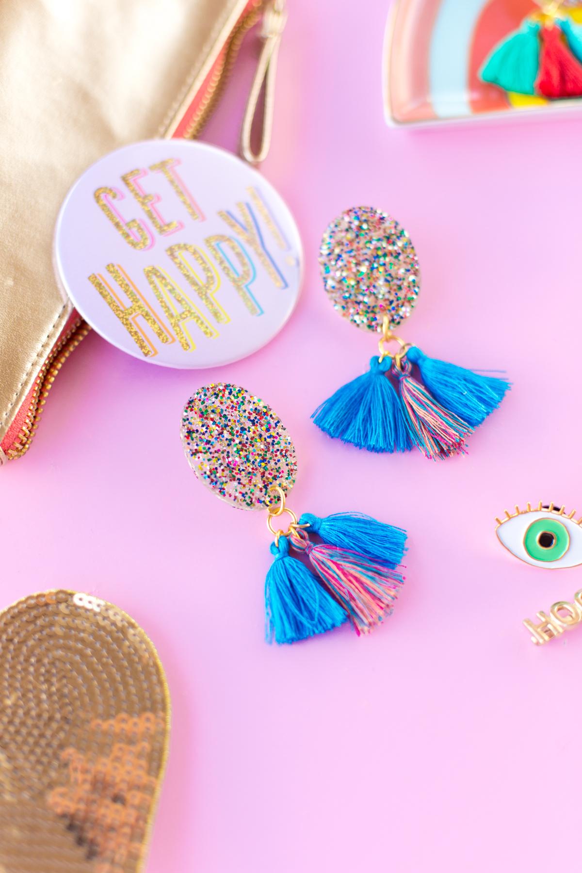 Diy Glitter Tassel Earrings Studio Diy