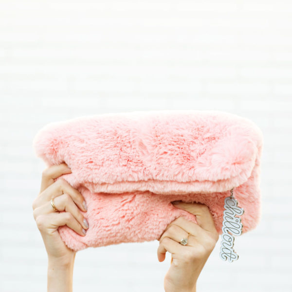 Pink Faux Fur Clutch