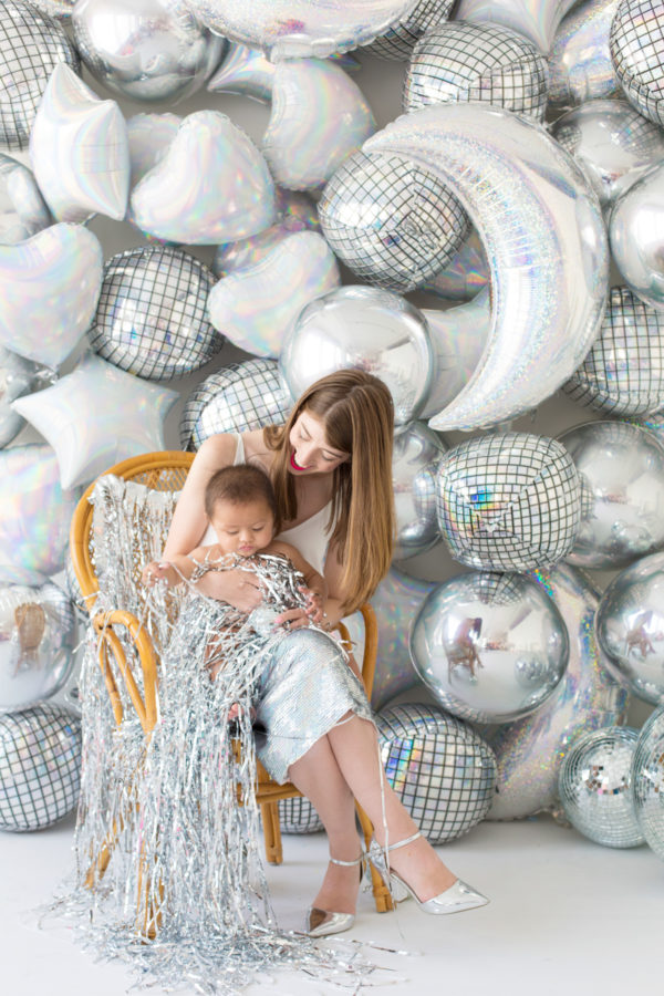 DIY Holographic Balloon Backdrop for New Year's Eve