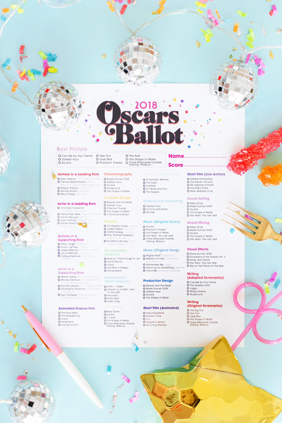 photograph about Printable Ballot named No cost Printable 2018 Oscar Ballot - Studio Do it yourself