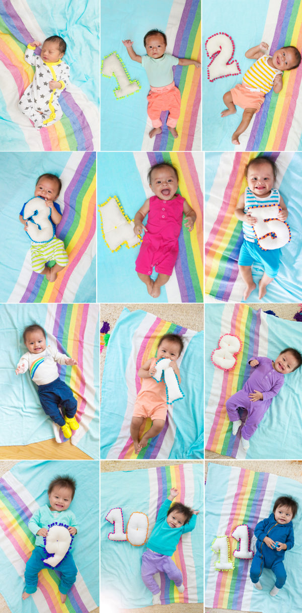 Colorful Monthly Baby Photo Ideas