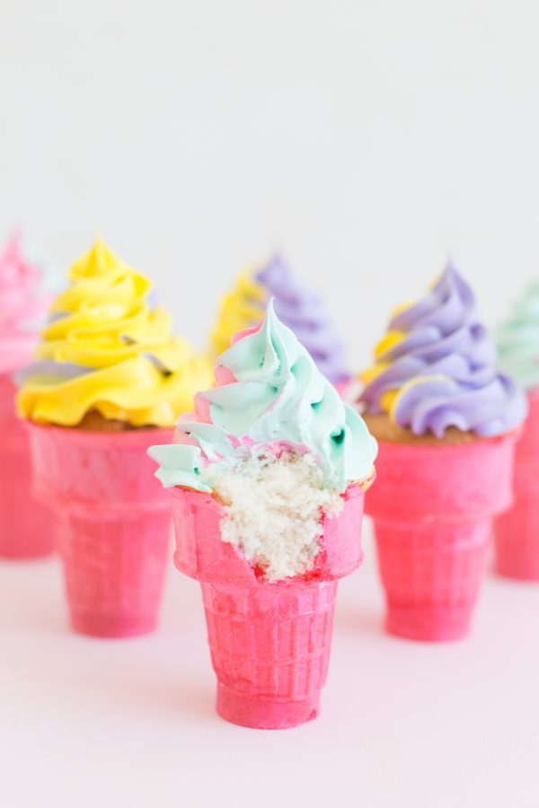 How To Make Colorful Ice Cream Cone Cupcakes