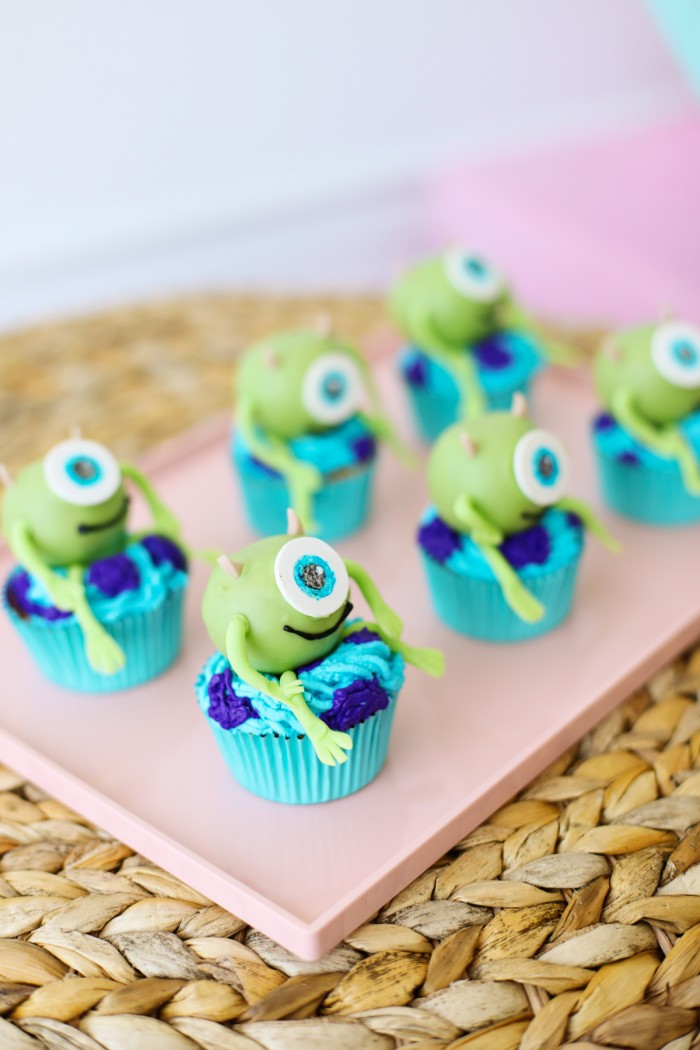 Mike Wazowski from Monster's Inc cupcakes