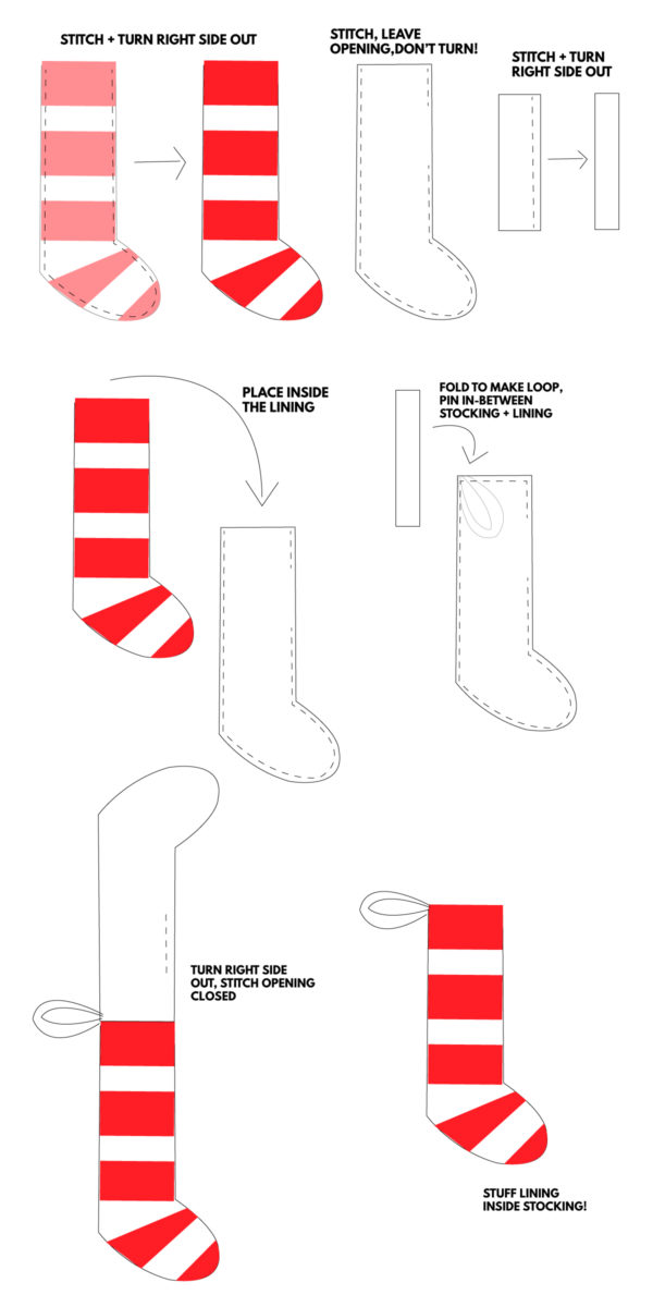 DIY Felted Stripe Christmas Stockings