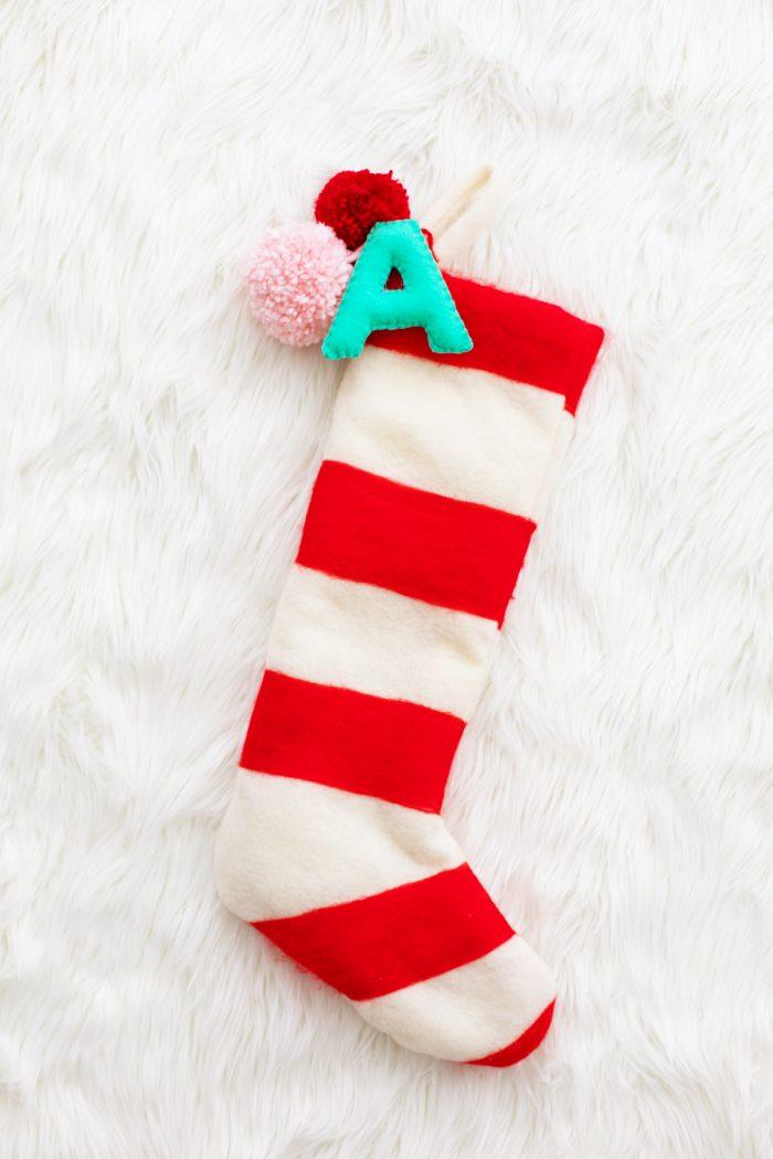 DIY Felted Stripe Christmas Stockings