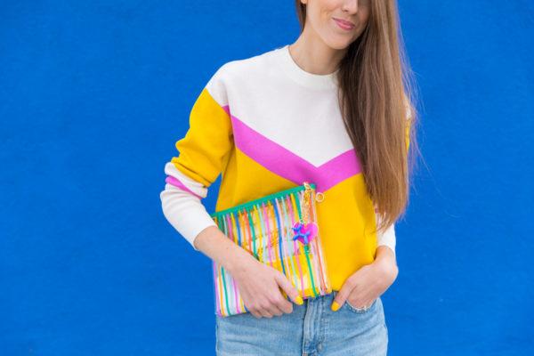 Clear Rainbow Stripe Clutch