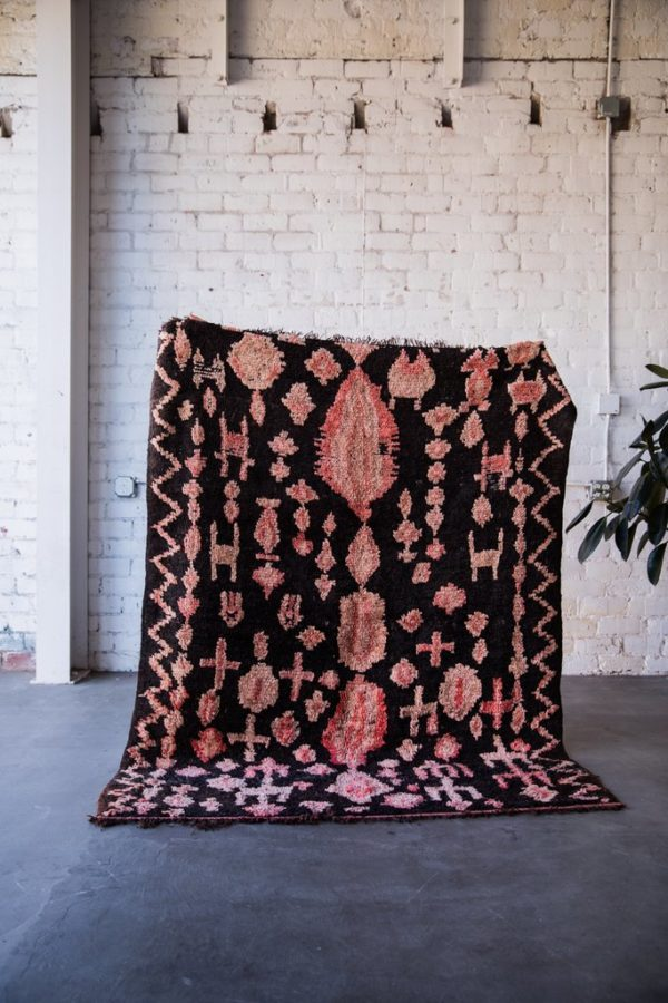 Black and Pink Vintage Ourika Moroccan Berber Rug