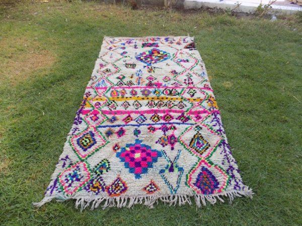 Colorful Vintage Azilal Moroccan Rug