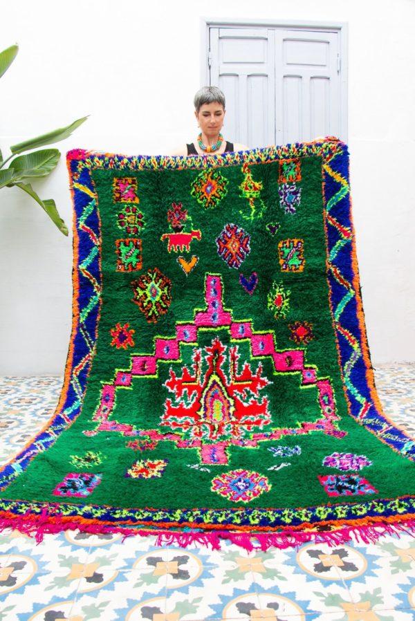 Emerald Green Moroccan Boucharouite Rug