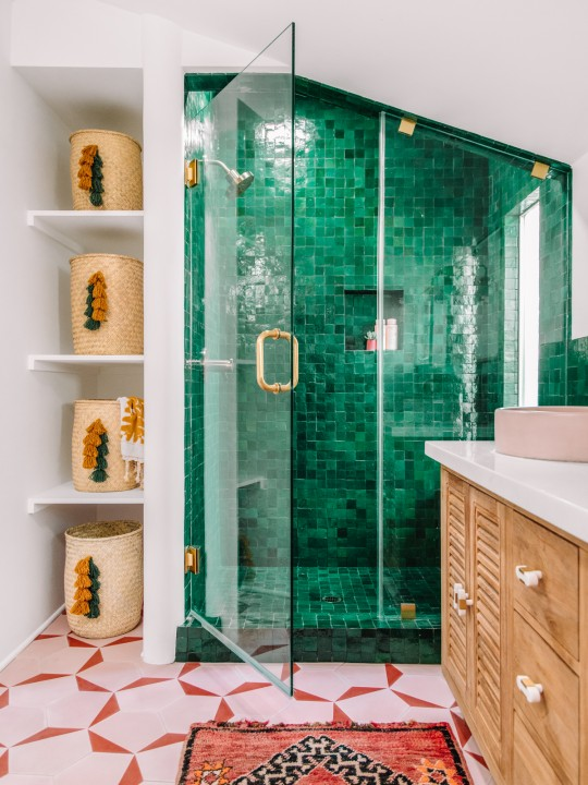 Our Bold Pink and Green Bathroom