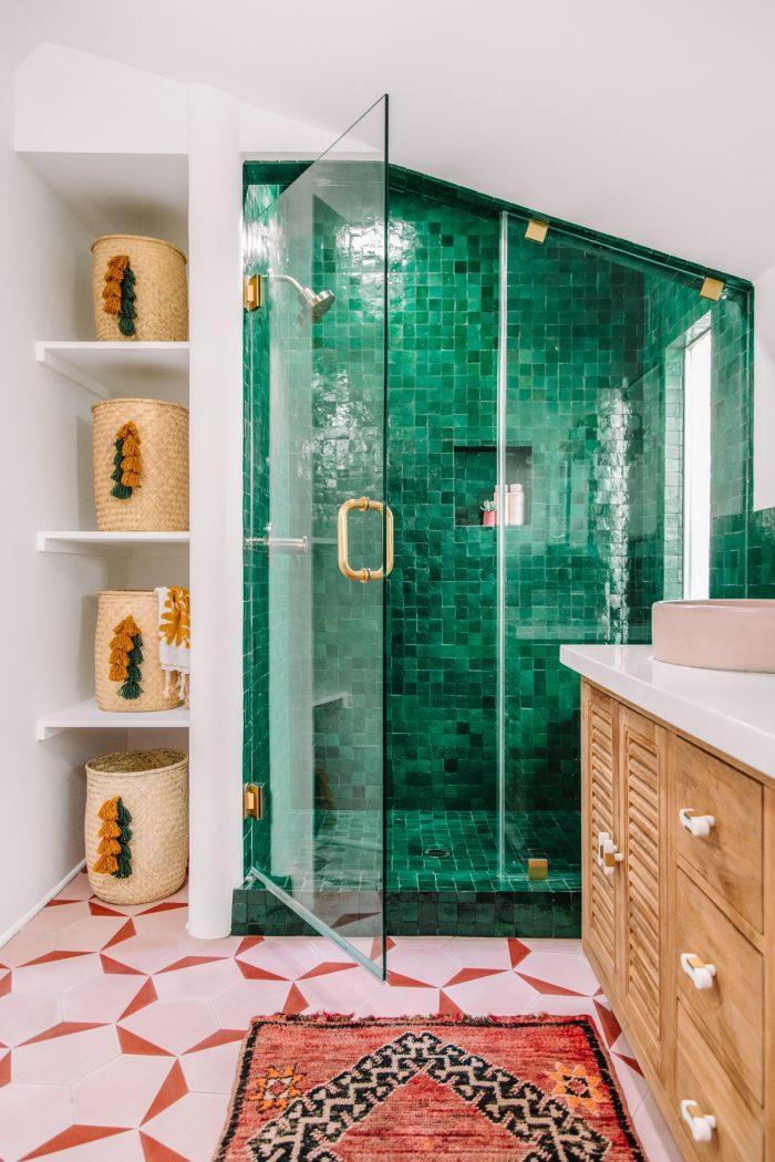 Green Tile Shower | Master Bathroom